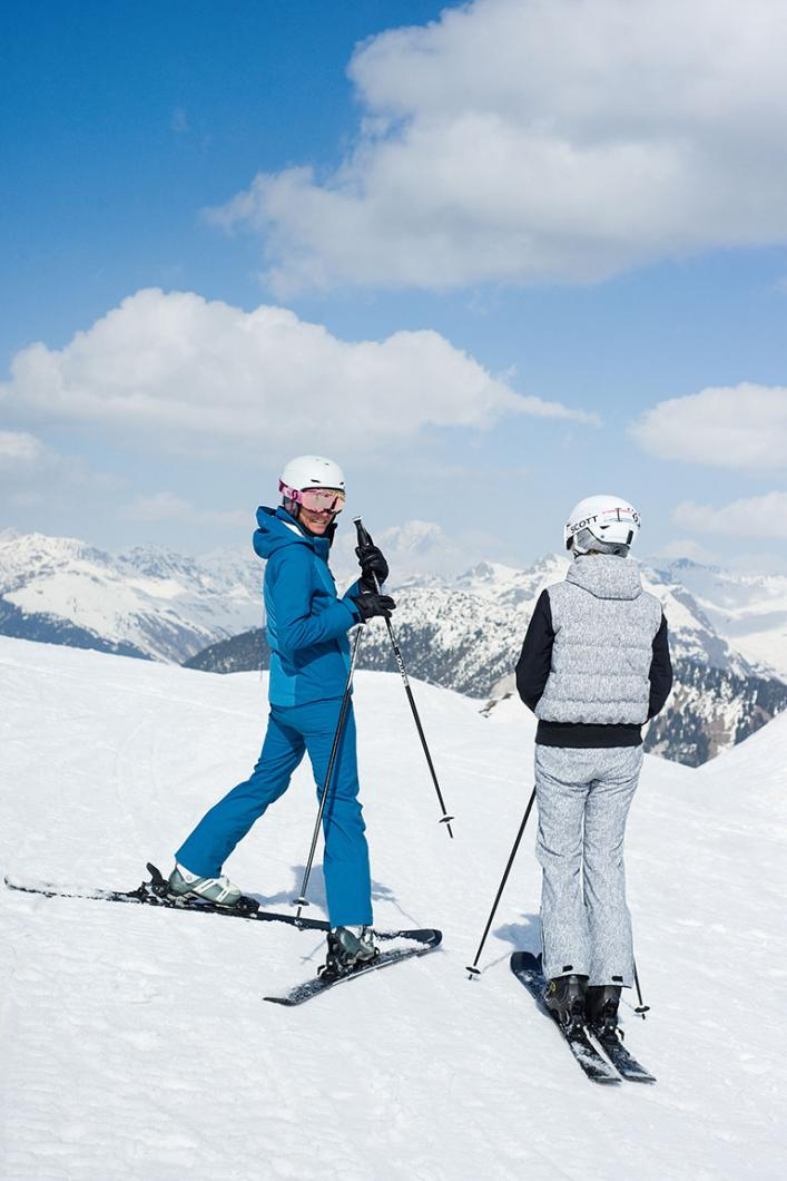 With friends on the slopes of the world's largest ski area.