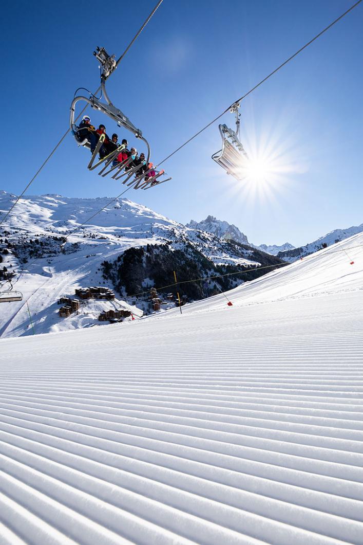 Velvety ski slope in Méribel at the heart of Les 3 Vallées